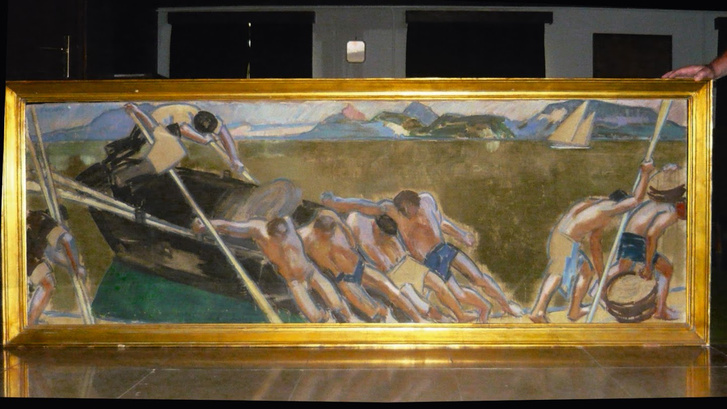 Vaszary János Halászat a Balatonon című festménye a Balatoni Limnológiai Intézetben
