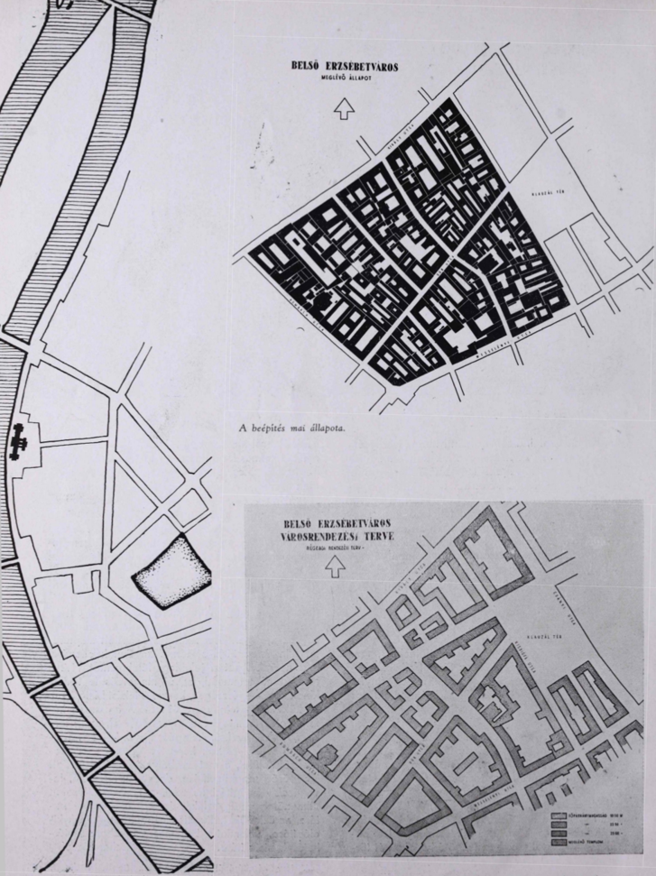 BALRA: a szanálandó terület elhelyezkedése Budapesten belül. FENN: terület a cikk megjelenésekor, 1946-ban. LENN: a korábbi elképzelés a terület rendezésére, mely csak a Madách sugárutat vágta volna bele a negyedbe, de alapvetően nem érintette volna az úthálózatot
