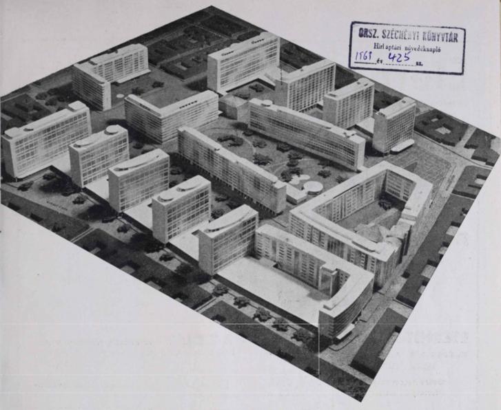 A tervezett szellős beépítés a Király utca felől nézve. Jobbra a Rumbach Sebestyén utca, hátul a négy emeletes ház a Wesselényi és a(z itt már nem igazán létező) Dob utca között húzódik. Balra fenn a két L alakú épület a Klauzál teret fogja közre