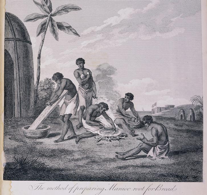 Kenyérsütés Madagaszkáron (korabeli metszet)