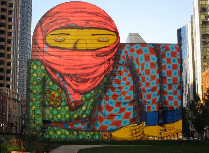 OSGEMEOS; The Dewey Square - falfestmény