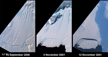 2001-ben is nagy darabok töredeztek le az antarktiszi gleccserről (Fotó: NASA)