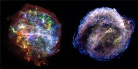 Kétféle szupernóva-maradvány: balra a G292.0+1.8 jelzésű objektum, jobbra a Kepler-féle szupernóva maradványa.