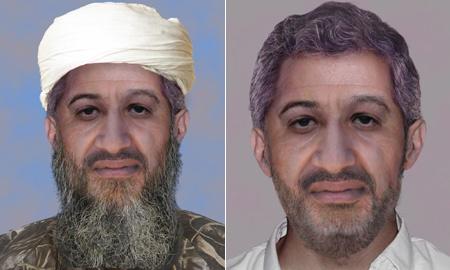 A számítógéppel öregített bin Laden az FBI által kiadott képeken