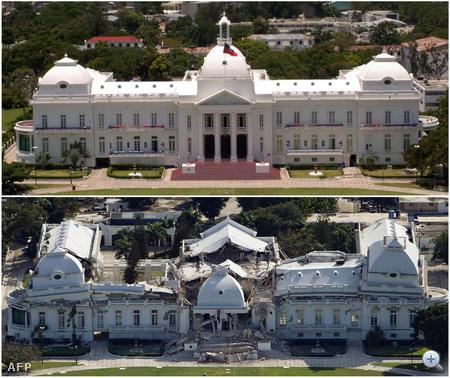 Az elnöki palota Port-au-Prince-ben a földrengés előtt és után.