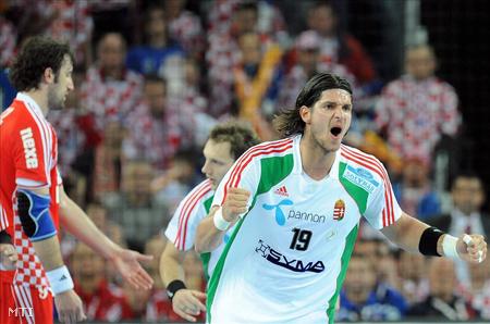 Nagy László a horvátországi férfi kézilabda-világbajnokság egyik mérkőzésén (Fotó: Georgi Licovszki)