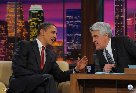 """US President Barack Obama is seen with host Jay Leno during a taping of """"The Tonight Show"""" at NBC"""