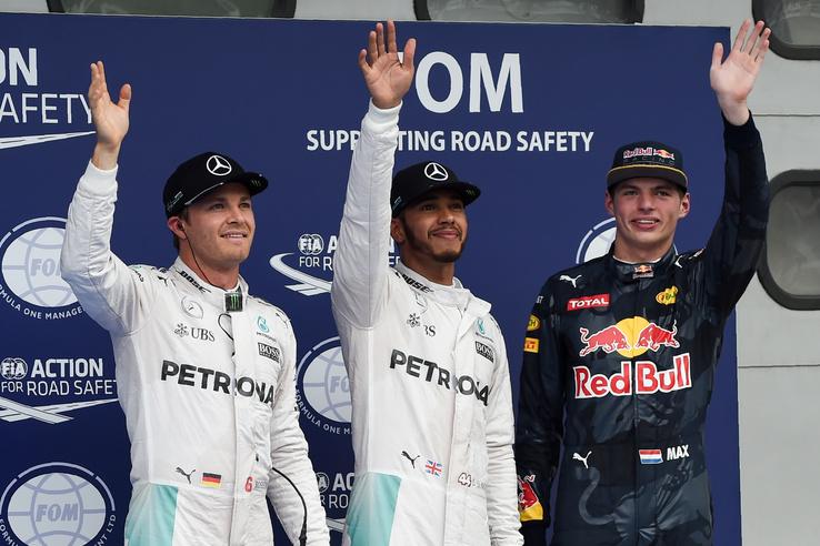 Nico Rosberg, Lewis Hamilton, Max Verstappen