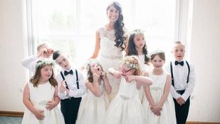 Down-szindrómás tanítványaival tette különlegessé az esküvőjét