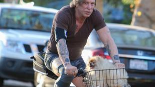 Mickey Rourke és kutyája elválaszthatatlanok