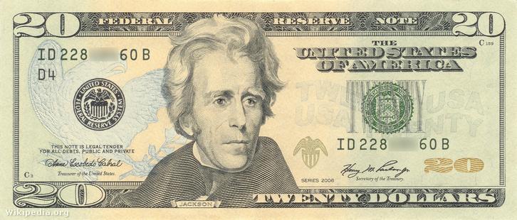 Andrew Jackson arcképe a mai húszdollároson