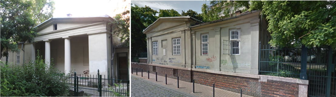 Az egykori kertészlak ma a Múzeumkert és a Pollack Mihály tér irányából