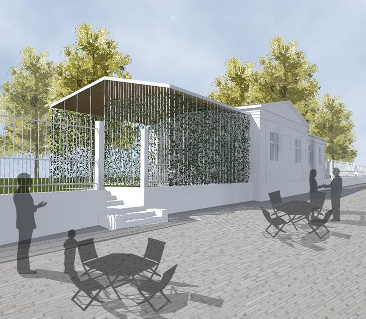 Kertészház funkcióbővítő átalakítása - látványterv a Pollack Mihály tér felőle