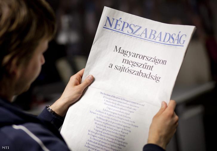 A Népszabadság címlapja 2011. január 3-án.