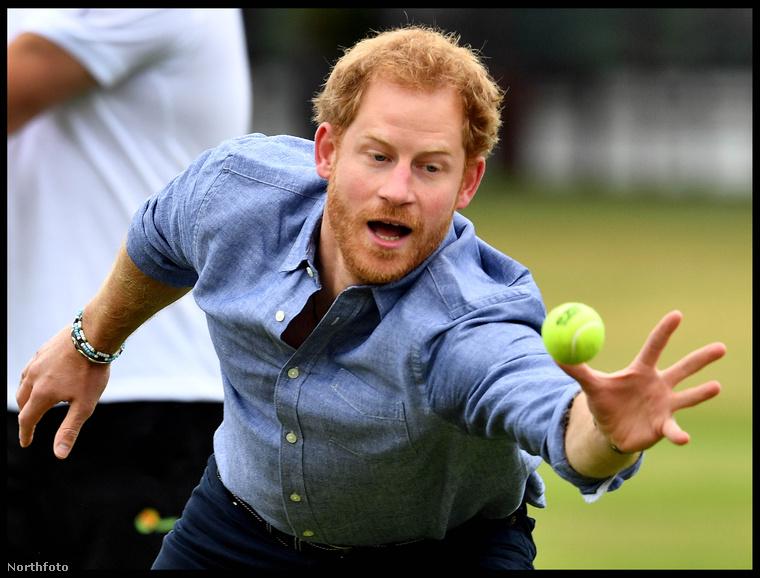 A hercegnek nehezére esett egy szimpla teniszlabda elkapása is...