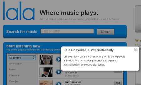 Lala.com, csak amerikaiaknak