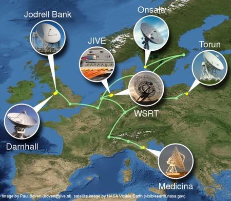 Az SN 2007gr első, 2007. szeptember 6-7-én végrehajtott e-VLBI megfigyelésében részt vevő európai rádiótávcsövek és az adatfeldolgozó központ (JIVE)