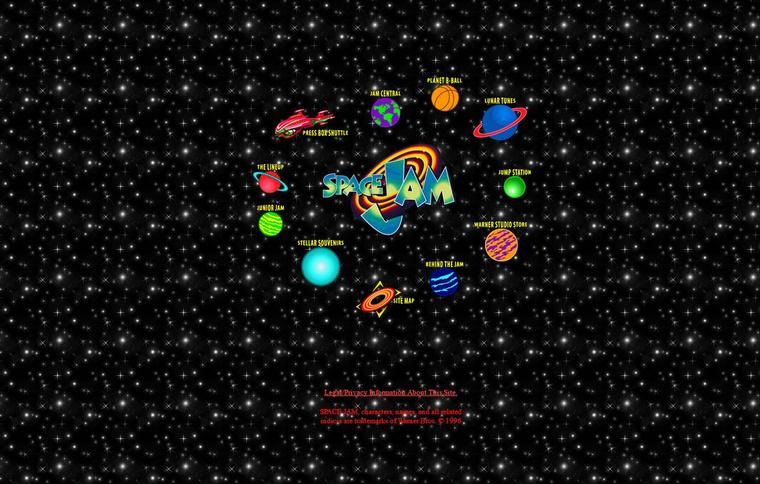 A Space Jam honlapja 1996-ból.