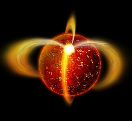 Fantáziarajz a PSR J0108-1431 katalógusjelű pulzárról (neutroncsillag). A röntgenemisszió forrása a mágneses erővonalak mentén mozgó részecskék és a felfűtött mágneses pólusok sugárzása.