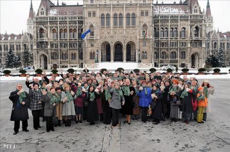 Seres Mária, a Civil Mozgalom képviselőjelölt társai között a mozgalom kampányindító demonstrációján