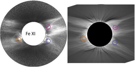 A Fe XI hullámhosszon megfigyelhető struktúrák (balra) nincsenek kapcsolatban a fehér fényben észlelhető alakzatokkal (jobbra)