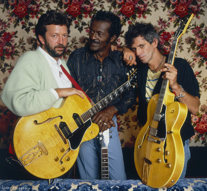 Eric Clapton és Keith Richards társaságában 1986-ban a 'Hail! Hail! Rock 'n' Roll' forgatásán