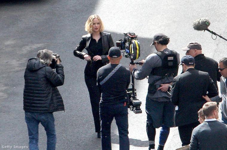 Jennifer Lawrence a Joy forgatásán.