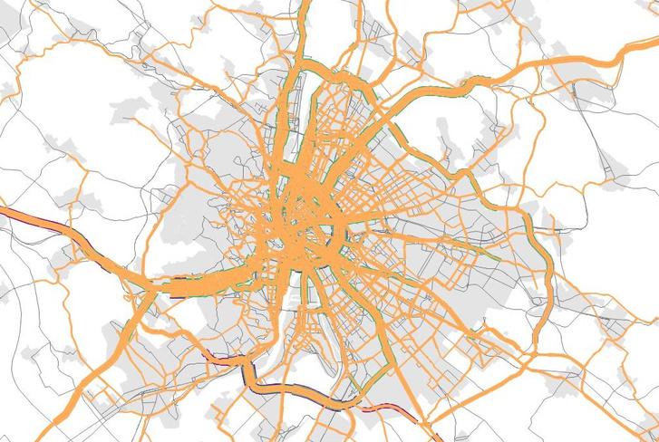 Az agglomerációból érkező gépkocsiforgalom fő csatornái (Forrás: BKK)