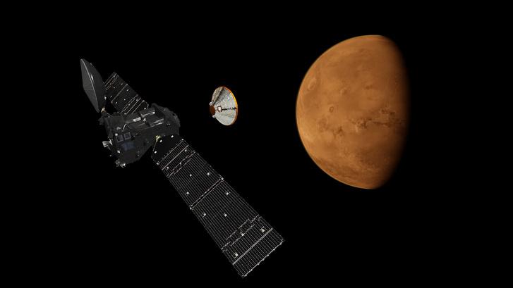 A Schiaparelli leszállóegység leválása a Trace Gas Orbiter szondáról
