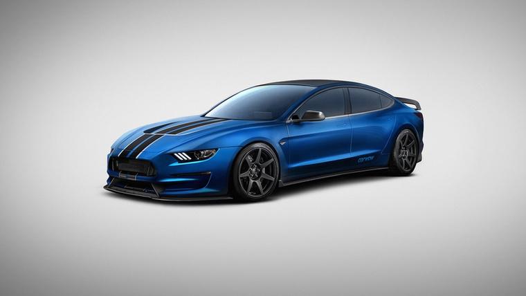 Tesla Model 350R: a Tesla Model 3-ból és a Ford Mustang GT350R-ből született ez az autó