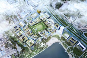A BudaPart madártávlatból: látvány a beépítési terv alapján