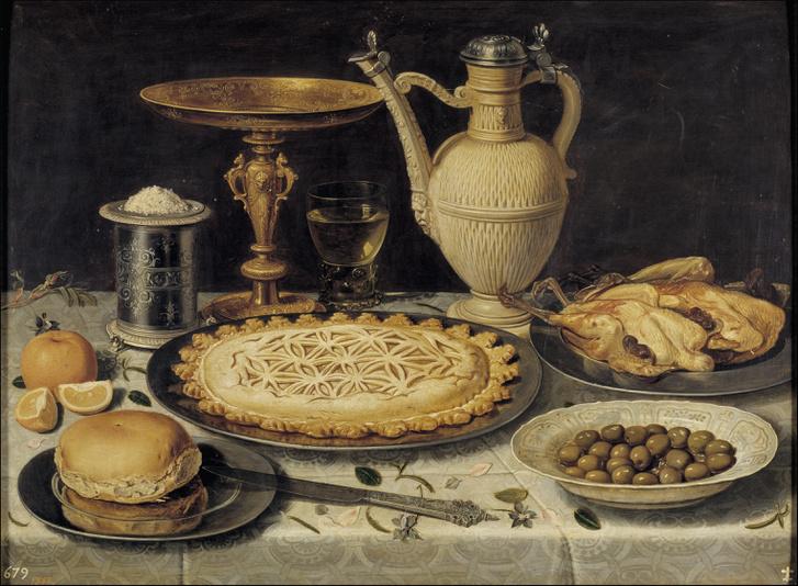 Clara Peeters: Asztal naranccsal, olivával és pitével (1611)