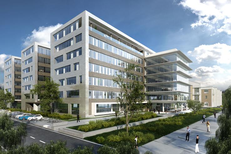 Ha van rá igény, ez lehet a projekt első épülete: egy irodaház az öböl nyugati partján az erőműtől délre. Ez már nem a master plan látványterve, hanem az épületé