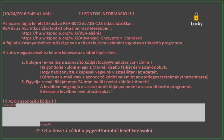 A magyar Hucky zsarolóvírus magyar nyelvű üzenete.