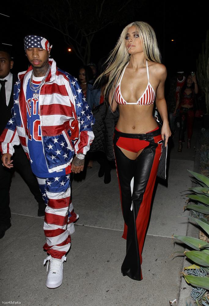 A kép balán Tyga vonul, aki egy rapper, a jobb oldalon pedig Kylie Jennert láthatjuk
