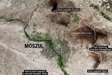 A Landsat napokban készült műholdfelvételén látszik, hogy Moszul körül sok területet gyújtottak fel. A New York Times nyomán jelöltük a térképen az Iszlám Állam területét és a harcoló csapatok elhelyezkedését a városhoz képest.