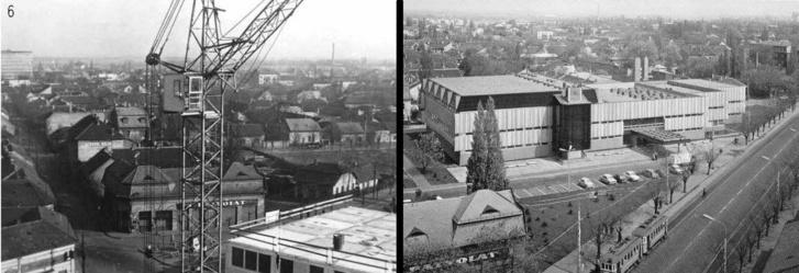 Az újpesti uszoda építésének helyszíne balra 1969 előtt, jobbra 1974 után. A képen látható (mára már lebontott) Patyolat lehet azonosítási pont