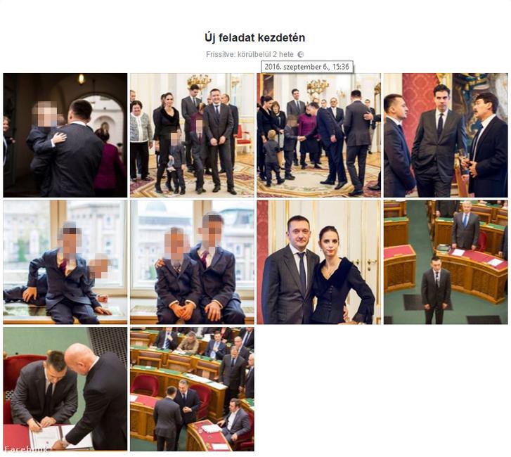 Az Új feladat kezdetén című Facebook-album Rogán Antal kinevezéséről, ami 2015. október 20-án lett feltöltve. A fenti dátum azt mutatja, mikor módosították az albumot: 2016. szeptember 6-án. (A Rogán gyerekek fotóit az Index takarta ki)