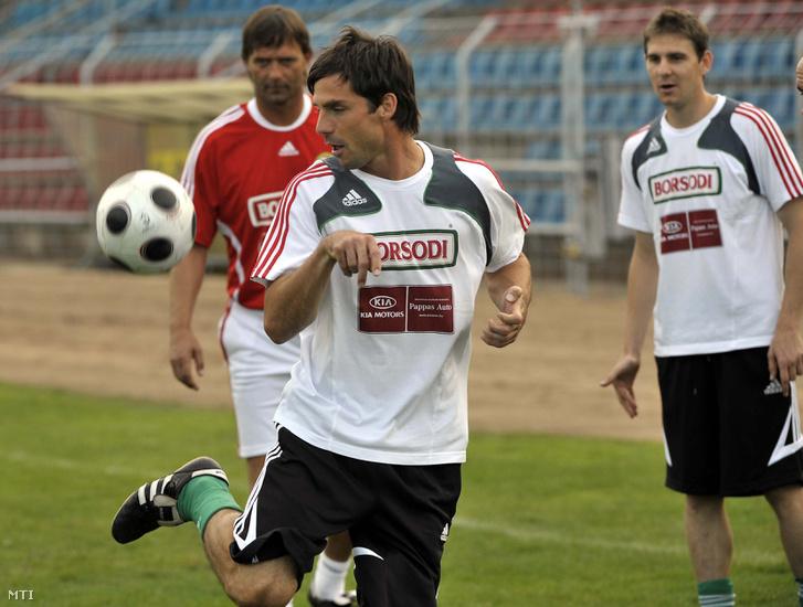 Lőw Zsolt és Gera Zoltán a magyar labdarúgó válogatott edzésén 2008-ban