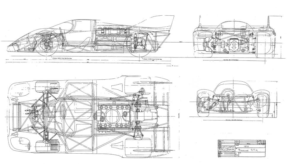 A műszaki rajzok célja, hogy megmutassák egy tárgy minden részletét. Természetesen mindezt méretezve és méretarányosan prezentálva kell papírra vetni. Szigorúan funkcionális ábrázolások ezek, segítik egy tárgy műszaki értelmezését és gyárthatóságát. A képen lévő Porsche 917 Kurzheck műszaki rajza, bár nem túl részletes, az átlagszem számára még így sem adja ki, hogy milyen is az autó valójában.