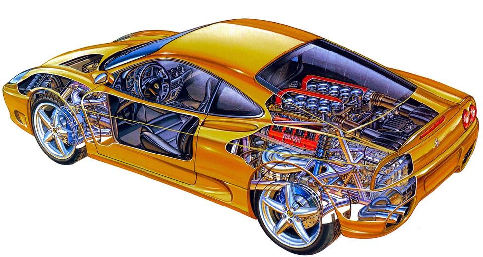 Jól megfigyelhető, hogy vegyes technikával készülnek a rajzok: ceruza, tus és filc nyomai is felfedezhetők. Érdekes, hogy művésze válogatja, hogy mit láthatunk és milyen mélységben. Itt például gyönyörűen látszanak a szívótorkok, amiket a Ferrari mérnökei mohón elrejtenek a kíváncsi szemek elől. Néhol nagyon sok részletet látunk: a kerekből az autó belseje felé haladva csak kontúrvonalak maradtak, mögöttük megcsodálhatjuk a futóművet is részletesen. Ugyanakkor a kasznin sok húst hagyott az alkotó, sok helyre egyáltalán nem látunk be.