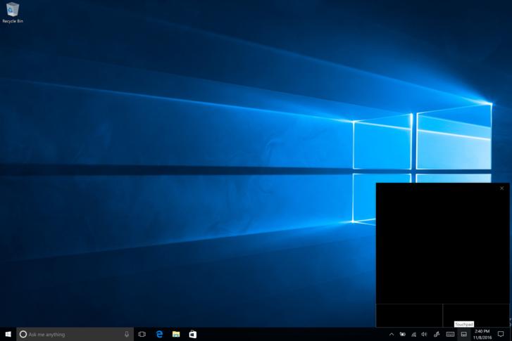 Virtuális egérpad a Windows 10 tesztverziójában.