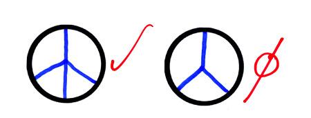 A csirkelábas békejelre rá lehet fogni, hogy két vonal, és keresztezik is egymást. A Mercedes nem nyert.