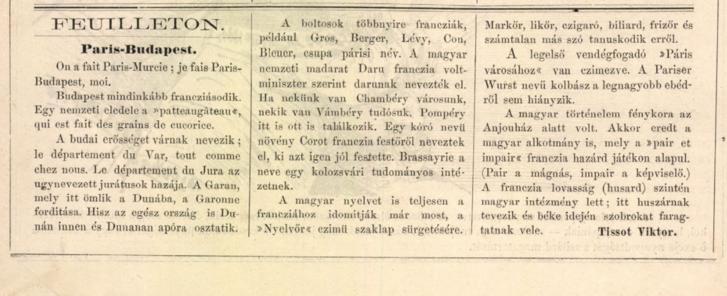 """""""Pariser Wurst"""" – írás a Borsszem Jankó egyik 1880-as számában"""