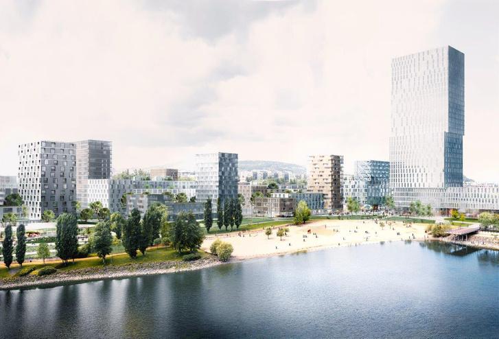 Látványterv a magasházzal. A végleges formája nem ilyen lesz, a masterplan csak a beépítést és a tömegarányokat mutatja be