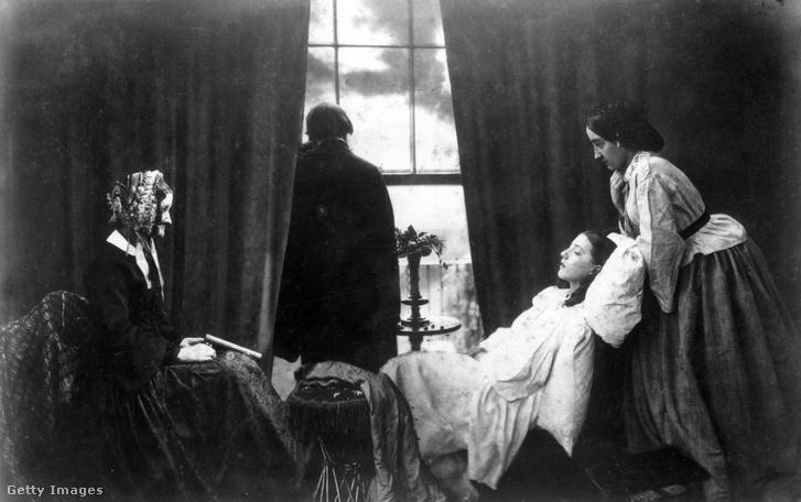 Sorvadásban elhunyt fiatal lány halálos ágya (1858)