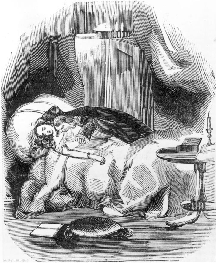 Illusztráció Varney, a vámpír című gótikus horrortörténetből az 1800-as évek elejéről