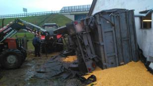 Kukoricával teli pótkocsi borult rá, meghalt egy munkás