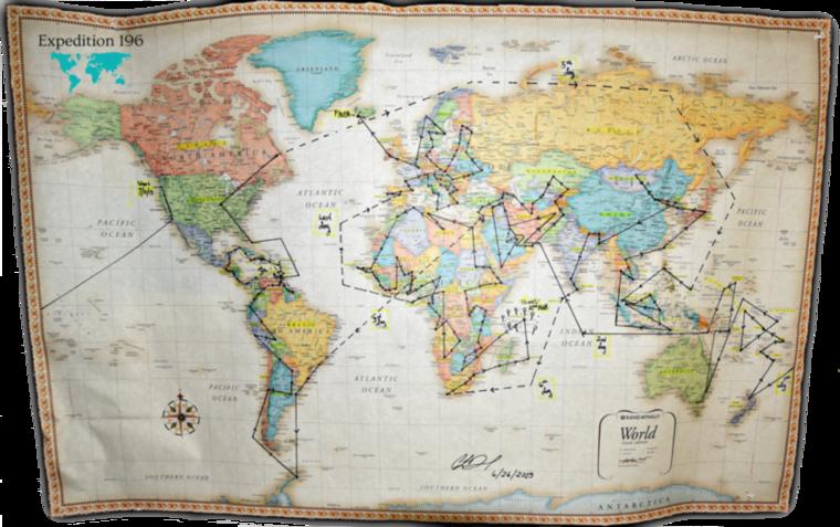 A térkép az Expedition 196 névre keresztelt projekt útitervét mutatja