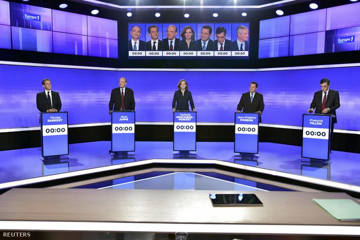 Sarkozy, Juppé, Kosciusko-Morizet, Poisson és Fillon az utolsó tévés vitában